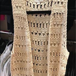 Boston Proper crocheted fringe vest